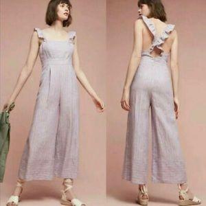 Anthropologie- Elevenses Lavender Linen Jumpsuit